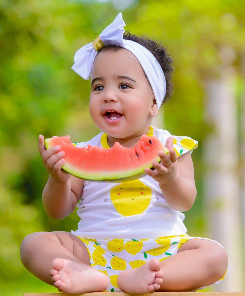 Toddler eating organic food