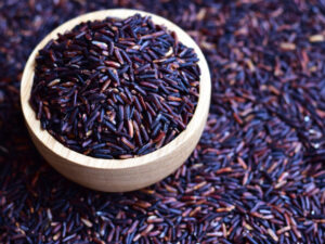 Uncooked purple rice also known as riceberry