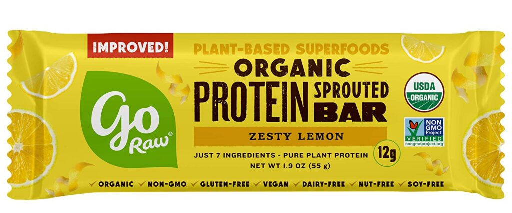 A single protein bar from Go Raw Sprouted Protein Bars
