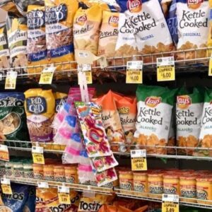"Bags of chips and pretzels which are a ""barcode food"", one of the worst foods on the leaky gut diet food list."